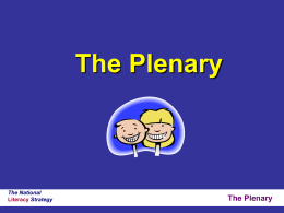The Plenary - lancsngfl.ac.uk