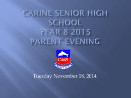 Welcome to Carine Senior High School