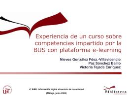 Experiencia de un curso sobre competencias impartido por