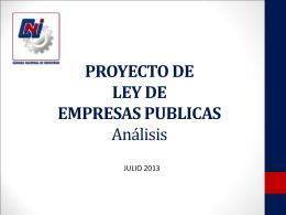 PROYECTO DE LEY DE EMPRESAS PUBLICAS