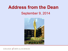 Address from the Dean - Illinois State University