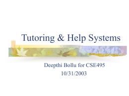 Tutoring & Help Systems