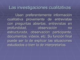 Las investigaciones cualitativas
