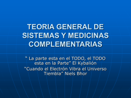 TEORIA GENERAL DE SISTEMAS Y MEDICINAS …