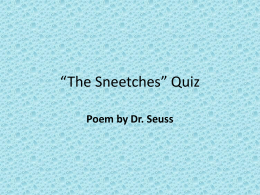 "The Sneetches"" Quiz"