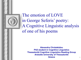 The emotion of LOVE in George Seferis' poetry: A …
