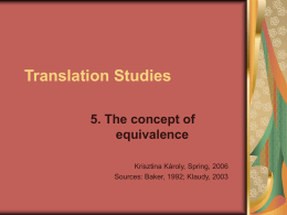 Translation Studies - School of English and American