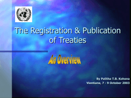 The Registration & Publication of Treaties