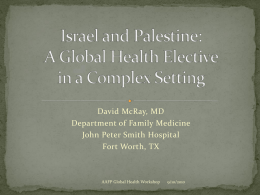 An International Health Elective in Israel and Palestine