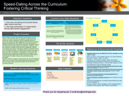 Speed-Dating Across the Curriculum: Fostering Critical
