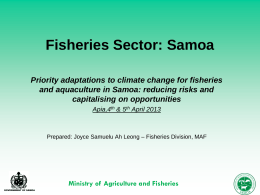 Samoa Fisheries: Existing Management Systems,Policies