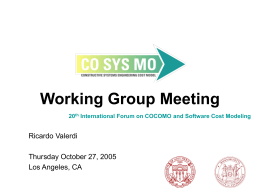 Working Group Meeting - University of Southern California