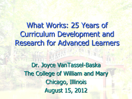 What Works: 20 Years of Curriculum Development and