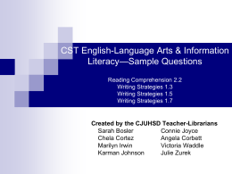 CST English-Language Arts & Information Literacy— …