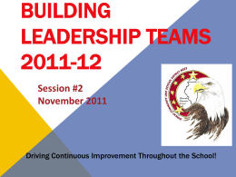 BLT 11-1-11 Secondary PowerPoint Presentation