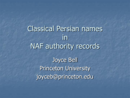 Classical Persian names - Princeton University Library