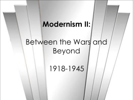 Modernism II: The Aftermath of World War I and the Start