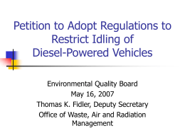 Petition to Adopt Regulations to Restrict Diesel Idling