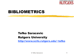BIBLIOMETRICS - School of Communication and …