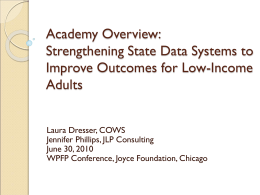 Academy Overview: Strengthening State Data Systems …