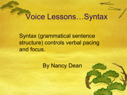 Voice Lessons…Syntax