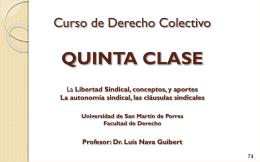 Curso de Derecho Colectivo QUINTA CLASE Libertad …
