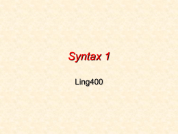 Syntax 1 - University of Washington