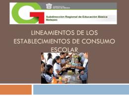 Lineamientos de los Establecimientos de Consumo Escolar