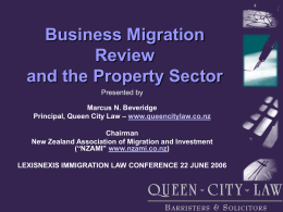 Business Migration Policy and Practice Update