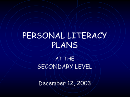 PERSONAL LITERACY PLANS - RITAP | The Rhode Island