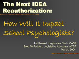 The Next IDEA Reauthorization: How Will It Impact School