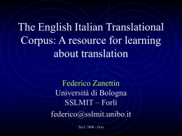 The English Italian Translational Corpus: A resource for