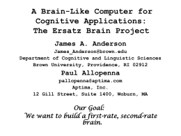 A Brain-Like Computer for Cognitive Applications: The
