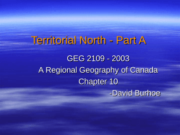 Chapter 10- Territorial North