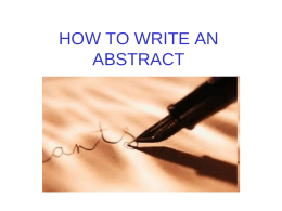 HOW TO WRITE AN ABSTRACT - Liceo Classico Gioberti