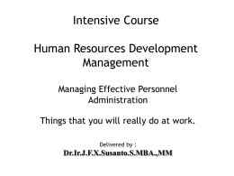 Training Human Resources Management for Fresh Graduates