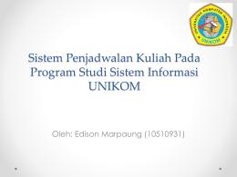Sistem Penjadwalan Kuliah Pada Program Studi Sistem