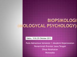 BIOPSIKOLOGI (BIOLOGICAL PSYCHOLOGY)