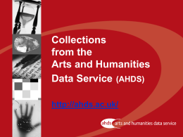 Collections from the Arts and Humanities Data Service