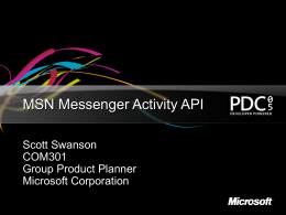 COM301 - MSN Messenger Activity API
