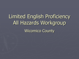 Limited English Proficiency All Hazards Workgroup
