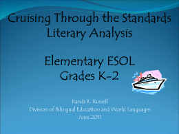 Traveling Through the Standards: Elementary ESOL Reading