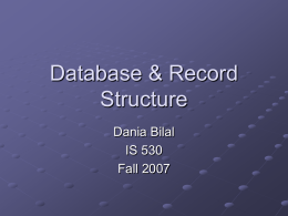 Database/Record Structure