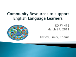 Community Resources to support English Language …