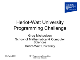 Heriot-Watt University Programming Challenge