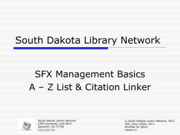 SFX - A-Z & Citation Linker - South Dakota Library Network