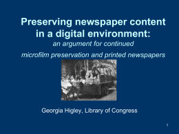 Preserving newspaper content in a digital environment: an