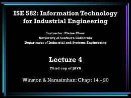 ISE 582: Information Technology for Industrial Engineers