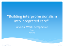 'Building interprofessional into integrated care'.