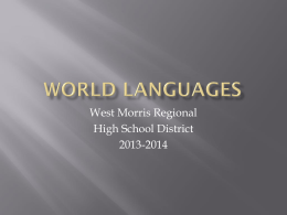 World Languages - West Morris Regional High School …